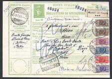 STORIA POSTALE REPUBBLICA 1961 Modulo Pacchi 60L da Alano Piave a Liegi (E8)