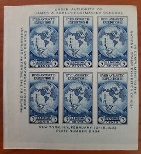 1935 U.S. Farley Byrd Antarctic Expedition Souvenir Sheet - MNG
