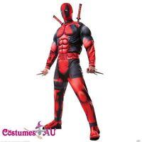 Deluxe DEADPOOL Marvel Costume Licensed Rubies Adults Muscle Fancy Dress