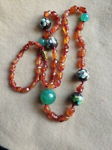 """Stunning Chinese Unique VTGAmber, Jade , Cloisonne beaded Necklace 30"""""""