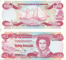 Bahamas - 3 Dollars 1984 UNC - Pick 44