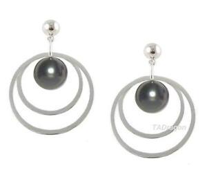 8-9MM Tahitian Black Pearl Post Earrings in 14K White Gold or Silver