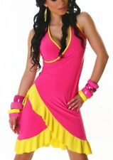 Sexy Damen Latina MiniKleid Salsa Volant V Mini Kleid Dress 34/36/38 Pink Gelb
