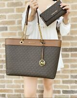 Michael Kors Shania Large Tote Brown MK Signature + Trifold Wallet