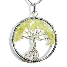 "CHARGED Peridot Tree of Life Perfect Pendant™ REIKI 20"" Silver Chain"