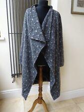 Designer Vera Ravenna Grey Coat Overcoat Cardigan Waterfall 70% Wool Size 12
