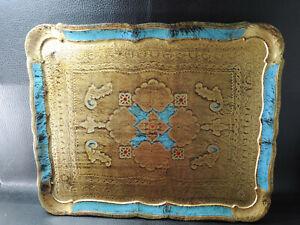"Antique Italian Florentine Wooden Tole Tray Wood Blue&Gold Platter Toleware 18"""