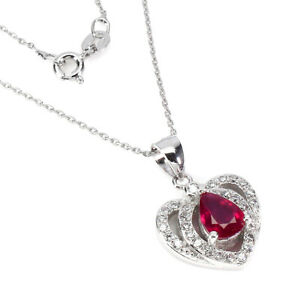 Pear Red Ruby 8x6mm White Topaz White Gold Plate 925 Sterling Silver Necklace 18