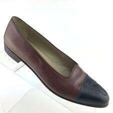 Salvatore Ferragamo Heel Brown Leather Black Cap Toe Womens Shoe SIZE 7.5 AA