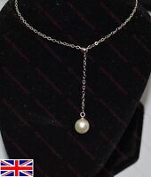Lovely 925 Silver Plated 8mm Pearl Bridal, Party, Prom, Necklace & Pendant