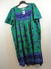 ONLY NECESSITIES COLORFUL Womens Nightgown Lounge House DRESS 1X - 22/24 Cotton