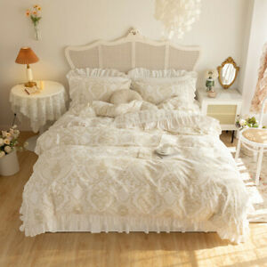 bedding set 4pcs warm velvet quilt cover flat sheet/bed skirt/fitted sheet set