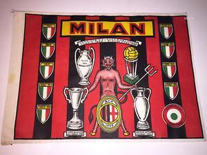 BANDIERA AC MILAN 1969 '60 cm 21x30 CAMPIONI EUROPA e MONDO   VINTAGE FLAG