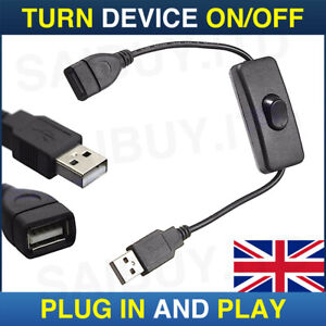 USB Cable With On/Off Toggle Switch Power Control Raspberry Pi Arduino in Black