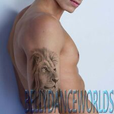 LARGE REALISTIC LION KING SKETCH HALF SLEEVE TEMPORARY TATTOO WATERPROOF STICKER