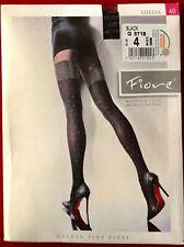 Fiore Edessa Mock Stocking Tights Pantyhose Size 4 Black