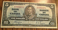 1937 CANADA 5 DOLLARS BANK NOTE - A/S - Coyne / Towers