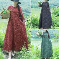 Vintage Retro Women Cotton Linen A Line Oversize Long Tunic Dress Pullover Q7H5