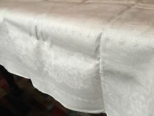 Vintage Rose Floral White Linen Blend 58x78 Tablecloth W/ 6 Napkins (RF320)