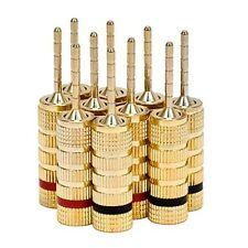 Monoprice 24k Gold Plated Brass Speaker Pin Plugs, Pin Screw Type (5 Pairs) New