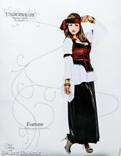 Gypsy Costume 5 Pc Blk/Burg Velvet Skirt Blouse/Vest Armbands & Headscarf XL
