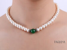 """Natural 8-9mm White Freshwater Pearl With Jade Choker Necklace Jewelry Gift 16"""""""