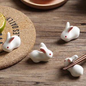 3X Ceramic Chopstick Rest Rabbit Holder Spoon Fork Rack Stand Kitchen Tableware