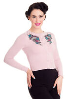 NEW Hell Bunny 50's Kyoto Rockabilly Retro Fitted Cardigan Pastel Pink XS 8 BNWT