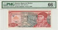 PMG Certified Mexico 1976 20 Pesos Banknote UNC 66 EPQ Gem Pick 64c US Seller