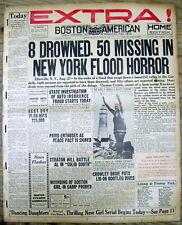 1928 NEWSPAPER EXTRA - GREAT FLOOD strikes the CATSKILLS in Ellenville NEW YORK
