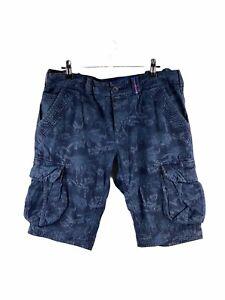 Superdry Core Lite Cargo Shorts Mens Size M Blue Floral Pockets Button Close
