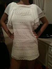 Vestido de encaje £ 69 Blanco Zara en encaje inglés de ganchillo de Seda Xs Extra Pequeño 8 4 36