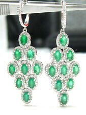 Fine  4.25 Carats PEAR EMERALD GEM DIAMOND CHANDELIER EARRINGS 14kt W/G