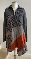 NWOT ANNE NAMBA 100% Silk Collared V-Neck Asymmetrical Hem Tunic Top Blouse, Med