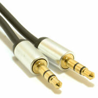 1m Aluminium PRO 3.5mm Jack to Jack Stereo Audio Cable Lead GOLD [007512]