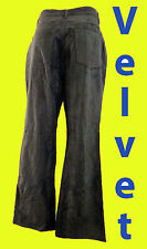Crushed velvet velour grey gray pant jean 11 31 flare boot cut gothic faux suede