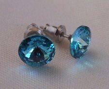 Swarovski Elements Crystal Turquoise Silver Deer Hypoallergenic Stud Earrings