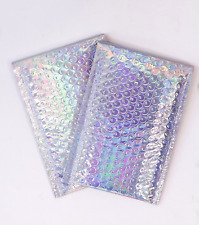 4x8 Metallic Bubble Mailers Padded Shipping Envelopes Mirrored Hologram Combo
