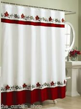 Holly Poinsettia Fabric Shower Curtain Holiday Christmas Xmas Embroidered