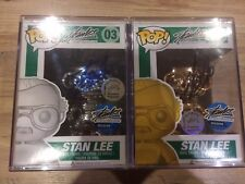 Funko Pop Stan Lee Gold Silver Metallic Chrome Edition Signed Set Rare 10pc 1/10
