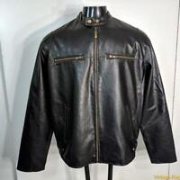 BURNSIDE Faux LEATHER Cafe Racer Biker JACKET Mens Size L black insulated