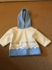 Rock A Bye Baby Boys Blue And White Hooded Jumper Size 0-3 Months