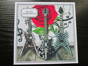 2 x  Rock Guitars  Birthday Card Toppers (NEW SIZE) & Sentiments