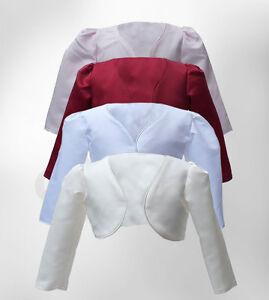 Baby Girls Wedding Communion Christening Flower Girl White Pink Bolero Jacket