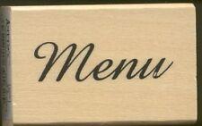 MENU Card Label Restaurant Word ANITA'S NEW Wood Mount Craft RUBBER STAMP