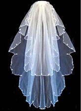 2 niveau Blanc Nuptiale Mariage Voile avec Perles Comb nouveau