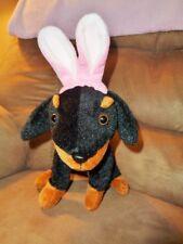 Easter Dog Doberman Rottweiler Puppy Black Brown Bunny Plush Animal Adventure