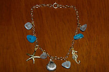 Dainty Gold Filled Beach Sea Glass Bracelet w Shell Seahorse Starfish Charms