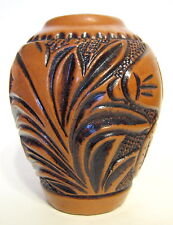 Southwestern Brown Ceramic Vase with Hand Tooled Leather Pattern 4 to 5 Inches