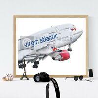 Boeing 747 Virgin Atlantic Artwork G-VOYG Retirement flight Print A4